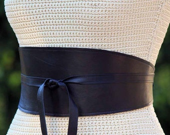 REVERSIBLE wide leather 2 sides -  obi wrap belt lambskin Black and custom choice of second color - XS S M L and Plus size - cinch sash