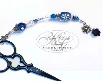 Blue Sky Snowflake Scissor Fob