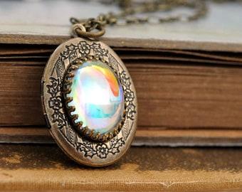 SILVER AURORA vintage Swarovski glass cab locket necklace