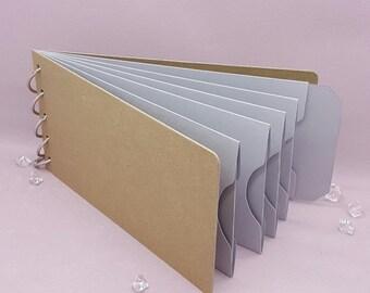"Gray Shades, Pocket Tag, Chipboard Album, Size 8-1/4"" x 4-1/4"", Scrapbooking, Memory Keeping, Photo Album, Kraft Covers"