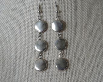Three Dot Earrings,  Silver Dot Earrings,  Silver Dangle Earrings,  Silver Swing Dot Earrings,