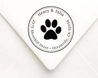 Personalized Dog Paw Address Stamp, Dog Rubber Stamp, Pet Address Stamp, Paw Print, Self Inking Address Stamp