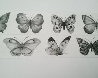 Design Washi tape butterflies black white