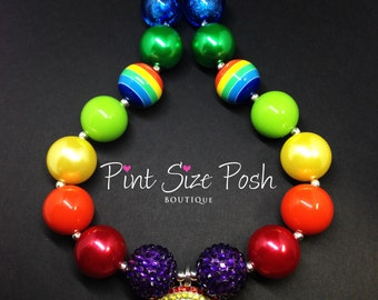 Rainbow colorful girl chunky necklace rhinestone pendant cloud