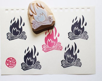 camp fire stamp   camping rubber stamp   summer crafts   birthday christmas card making   diy gift wraps   hand carved by talktothesun