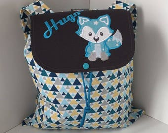 Backpack child, personalized (name, pattern) size 2/3 years, Fox, turquoise