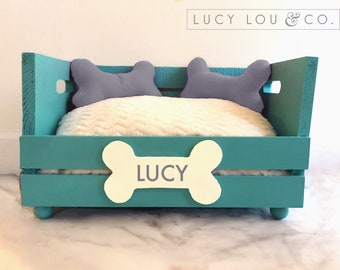 Custom Personalized Dog Bed Teal Turquoise and White and Gray with Hand-Made Pillows and Fluffy Pet Cushion