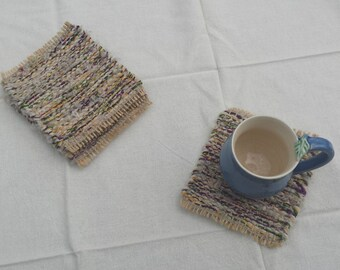 Mug Rugs, upcycled handwoven coasters, white, purple, yellow, green and beige drink coaster gift set