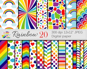 Rainbow Digital Paper Set, Multicolored Digital Scrapbook Printable Papers, Rainbow Patterns with Stars, Clouds, Instant Digital Download