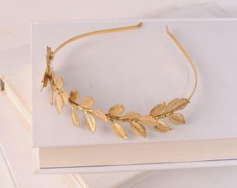 Gold Leaf Headband - Wedding Headpiece - Bridal Hair Accessory - Hair Jewelry