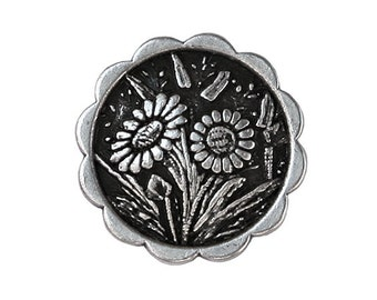 6 Daisies 5/8 inch ( 15 mm ) Metal Buttons Silver Color