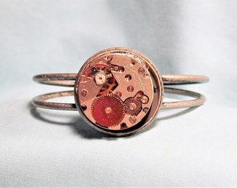 Steampunk Vintage Watch Movement Cuff Bracelet OOAK