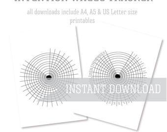 Intention Wheel Habit & Gratitude Tracker Bullet Journal Log Printable