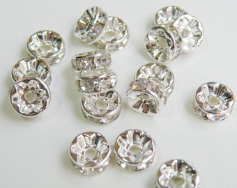 20 Clear rhinestone rondelle spacer beads 6x3mm PA010-6