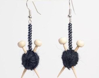 Black Ear Knits - Yarn ball earrings