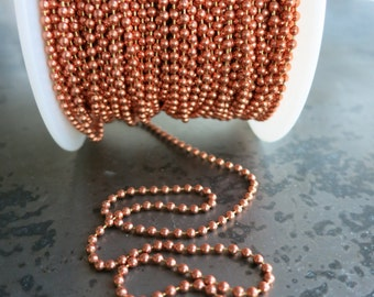 2mm COPPER BALL CHAIN, Bright or Hand Oxidized, Copper Connector with each Foot of Chain, 2 ft to 40 ft Bulk Chain