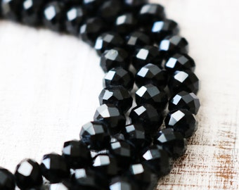 black crystal beads, faceted rondelle, glossy beads, crystal clear, 6mm x 8mm, full strand, approx. 72 beads