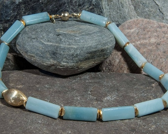 Amazonite chain with elements of gold-plated 925 silver
