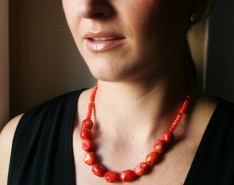 Coral Nugget Statement Necklace - Orange Coral Necklace - Swarovski Accents - Chunky Necklace