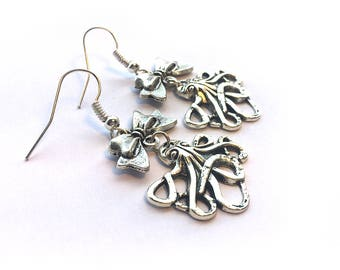 Rockabilly octopus dangle earrings - cute silver earrings for her with octopus and bows. Sealife jewellery