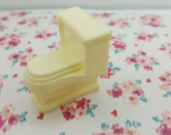 Marx Contemporary  Bathroom Toilet  Ivory Doll House Toy soft Plastic Furniture