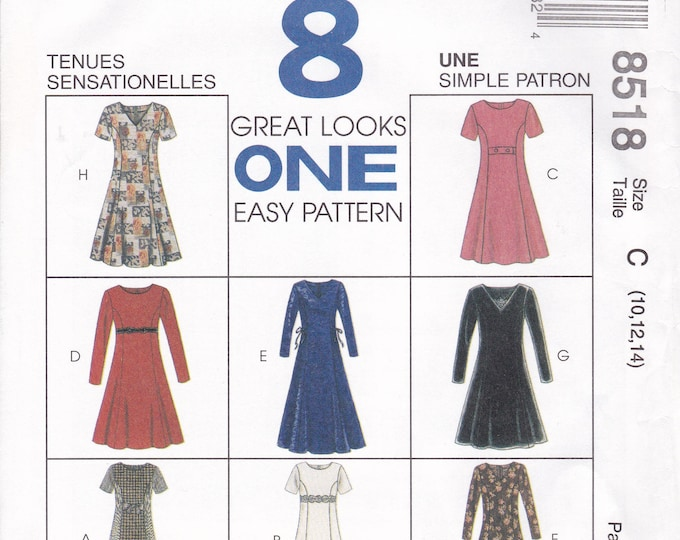FREE US SHIP McCalls 8518 Sewing Pattern Uncut Retro 1990s 90's  8 Great Looks Dress Empire Trim  Size  10 12 14  Bust 32.5 34 36 new