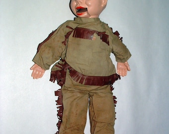 Ventriloquist Doll 1950's Davy Crockett 18 Inches With Outfit