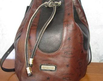 SALE Vintage HCL Brown Leather Drawstring/Shoulder Bag