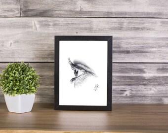 Eye handmade Drawing, Digital Print, Art Print, Made in pencil and charcoal, Realistic Drawing