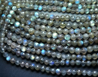14 Inch Strand, Finest Quality,Blue Flashy Labradorite Faceted Round BALLS Beads,5.5mm