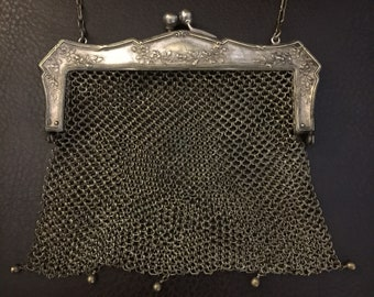 Antique German Silver Chainmail Purse, Silver Mesh, Victorian Purse