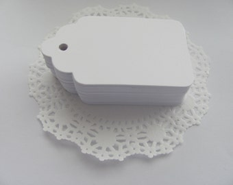 50 Small White Gift Tags, Label Tags, Favor Tags, Paper Hang Tags