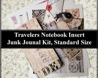 Travelers Notebook Insert: Junk Journal Kit, Standard Size, w/ 4 Sheets of Cut Outs for Decorating, 6 Pieces of Ready Made Embellishments #3