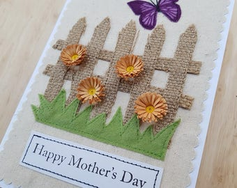 Mother's day applique butterfly and orange quilled flower card