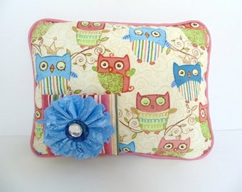 Owl Tooth Fairy Pillow , Pastel Owl Pillow , Girls Tooth Fairy Pillow , Personalized Pillow , Girls Pocket Pillow, Girls Owl Decor