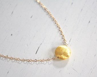 Gold Necklace Dainty Gold Necklace Gold Disc Necklace Bridesmaid Necklace, Best Friend Gift, Birthday Gift, Bridesmaid Gift, Gift for Her