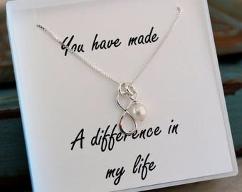 Mentor - Teacher - Coach Necklace with fresh water pearl - Tiny Infinity Sterling Silver Necklace