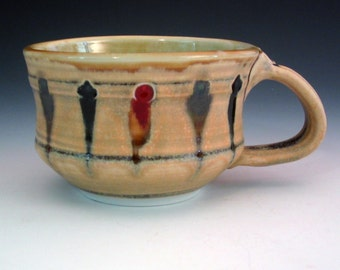 Handmade Ceramic Soup Bowl, 'Crown Jewels'Peach Glaze, Porcelain Pottery