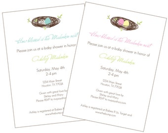 Feather the Nest Baby Shower Invitation - Printable PDF or Email Evite
