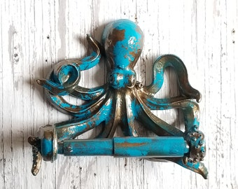 Octopus Toilet Paper Holder, Nautical Bathroom, Octopus Decor, Nautical Bathroom Decor Toilet Paper Holder, Nautical Decor, Octopus Wall Art