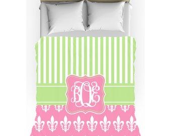 Pink & Mint Green Fleur de Lis Stripes Monogrammed Duvet Cover - Twin, Queen, King - Optional Pillow Shams