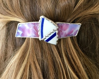 Vintage Courseware Shards and Playful Pink Stained Glass Barrette