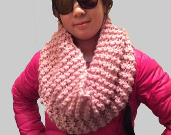 Pink Cowl, Pink Knit Cowl, Pink Infinity Scarf, Handmade Knit Cowl, Pink Circle Scarf, Pink Scarf, Pink Neck Warmer, Chunky Pink Scarf