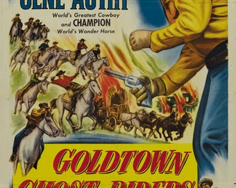 Goldtown Ghost Riders (1953) Gene Autry Western Cult movie poster reprint 19x12.5 inches