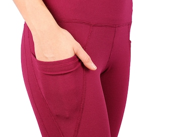 High waist fleece lined long leggings with two pockets - Heat Up
