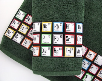 Periodic table, hand towels, Periodic Table, geek towels, science, custom towels, bathroom, august ave, chemistry, gift