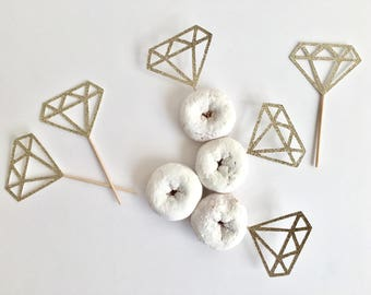 Glitter Diamond Cupcake Toppers - Glitter Diamond Donut Toppers - Diamond Toppers - Engagement - Bridal Shower Toppers - Wedding Decorations