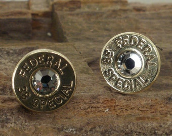 Crystal Bullet Earrings - Federal 38 SPL - Ultra Thin - April Birthstone