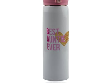 Aunt thermos 500 ml vacuum flask. Stainless steel insulated thermo bottle. Travel tumbler mug for hot or cold beverage.