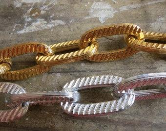 6 ft Fancy Gold Silver Aluminum Large Oval Link Chain 18x30mm - K4407
